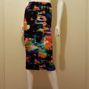Topshop Multicolor Midi Tube Skirt Size 6